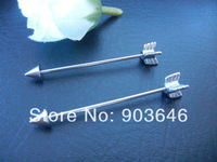 2PCS Free Shippment  16g Long  Industrial Barbells Ear Barbells  Body Jewelry Ear Piercing Arrow 35mm