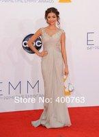 Newest Sarah Hyland Emmy Awards Red Carpet V Neck Appliques Celebrity Dresses 2014 Evening Dresss Custom Made