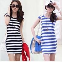Women one-piece dress summer 2014 stripe slim hip slim one-piece dress summer dress Drop Shipping