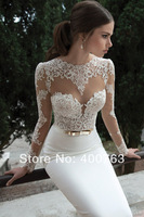 Vestidos De Noiva 2014  Sexy Long Sleeves SheerSee Through  Lace Sheath Bridal Weddings Gowns Free Shipping
