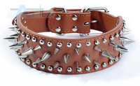 Brown-color New Imitation Leather Pet Dog Ring Spiked Metal Nail Dog Collars  D15_Z