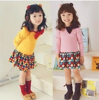2014 spring new design o neck bow dot print patchwork cotton long sleeve girls children dress 3-8 kids shirt