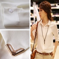2014 long-sleeve chiffon shirt ol women's professional shirt basic all-match chiffon shirt white shirt