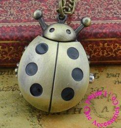 wholesale price good quality new girl ladies bronze vintage retro ladybug pocket watch necklace with chain black ladybug watch(China (Mainland))