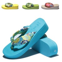 2014 Summer Pastoral Retro Silk Sandals Thick-soled Sandals Slippers Wedge Flip Flops Women's Beach Shoes