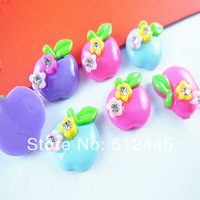 30pcs Mixed color Resin Apple flatback Fruit cabochon 17mm