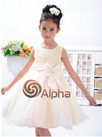 Retail 2014 New Arrival 3-12 Year Little Girl's Flower Ball Gown Dress Children Party Wedding Dress White Pink Beige Rose Red