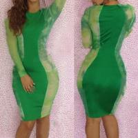 S M L Plus Size 2014 New Fashion Women Sexy Long Sleeve Winter Green Printed Bodycon Bandage Dress Casual Dress YHD010