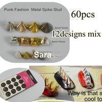 60pcs Mix  4*4mm/2*4mm/5*5mm Punk Fashion  Metal Spike Stud Nail Art  Studs Decoration Cellphone Decoration Retail Dropshipping