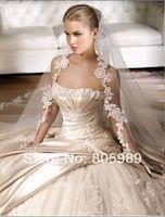 Free shipping best selling custom-made white&ivory Sweetheart Sleeveless  Wedding Dresses SH0057