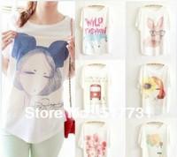 Free shipping ! 2014 Women T-shirt plus size loose batwing sleeve women's short-sleeve T-shirt print tee womens t shirt
