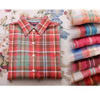 2014 spring shirt slim all-match combed cotton casual plaid shirt plaid shirt female