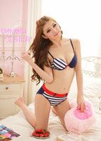 Cup A= Cup B!Navy Style Sweet Blue Stripe Sexy Cute Bra Set (Brief).Free Shipping.