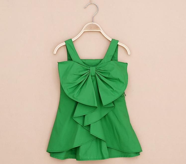 Einzelhandel, versandkostenfrei 2014 summe baumwolle baby kleider kinder mädchen hosenträger kleider baby strandkleid mit großen bogen 4 farben 2-9y