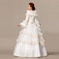 2014 winter and cotton lace slim wedding dress