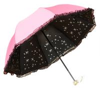 Free shipping Princess lace umbrella structurein folding umbrella for girls sun protection umbrella