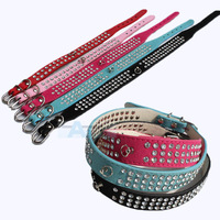 New Rose red Color 3 Rows Crystal Rhinestone Suede Leather Dog Collar Diamante pet collar D18_RO