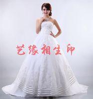 New arrival quality 2014 big train long trailing rhinestone wedding dress