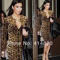2014 New Fashion Woman Dress Vestidos Leopard Print Long-sleeve Knee-length Saias High Street Party Sexy Dresses