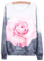 Sweatshirts 2015 New Designer Hot Top Fashion Women Clothing Harajuku Pullovers Casual Red Long Sleeve Rose Print 3D Sweatshirt