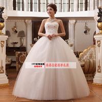 2014 princess quality tube top quality rhinestone spring puff wedding dress