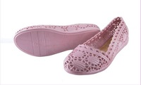 Free Shipping 2014 Hot Sale PVC Women Flats Shoes Ultra-soft  Waterproof Summer Non-slip Beach Shoes Purple Color C1466