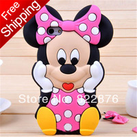 Free Shipping 3D Minnie Cartoon Cute Silicon Case Cover For samsung Galaxy S2 i9100 S3 i9300 S4 i9500 NOTE 2 N7100 N9000 Note 3