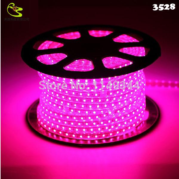 Free shipping IP66 High Voltage 60LED SMD 3528 LED Strip 220V 4W/M 300LED Waterproof Purple LED Light Strip + EU Plug(China (Mainland))