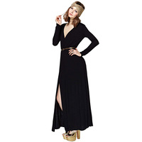 Free shipping 2014 spring black long dress sexy fashion deep V unilateral split sleeve dress with belt and to dress women