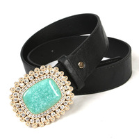 Free shipping Hot-sale imported high-quality Ladies Rhinestone Turquoise Buckle Belt Casual Belt  BT-B463