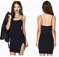 Unilateral split back zipper slim stretch thin strap short style dresses new fashion 2014 sexy plus size club dresses haoduoyi