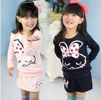 Children clothing wholesale 2014 spring and autumn new girls skirt set rabbit skirt Free shipping 5 sets/lot
