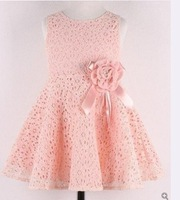 Free Shipping! Summer New Girls Dress Bow Princess Dress,Children Lace Dress,Kids Noble Fairy dress Drop Shipping