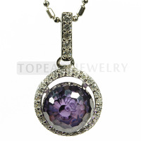 Topearl Jewelry Faceted 10mm Purple Cubic Zirconia 925 Sterling Silver Pendant 9SP01