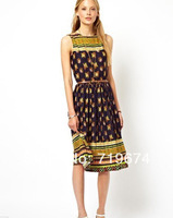 2014 New Fashion  Printed sleeveless dress and long sections 14 spring and summer women dress
