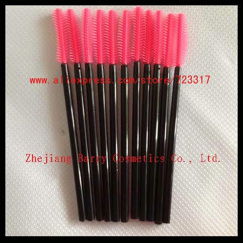NEW Magenta Disposable Mascara Wands Brushes silicone eyelash brush (1000pcs/lot) + Free shipping(China (Mainland))