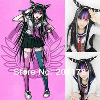 Super Dangan Ronpa 2 Ibuki Mioda Mixed Color Girls Long Anime Cosplay Wig Costume Full Wig