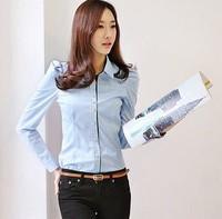 2015 fashion new brand long sleeve slim chffon shirt  women lady blue cotton blouse