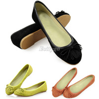 New Fashion Womens Ladies Suede Leather Flats Casual Slip Shoes Ballet Ballerina Slippers 3 Colors EU Size 36-39