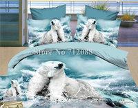 Free Shipping,romantic home textile 4pcs full/queen bedlinen quilt duvet covers 3D white polar bear animal pattern bedding set