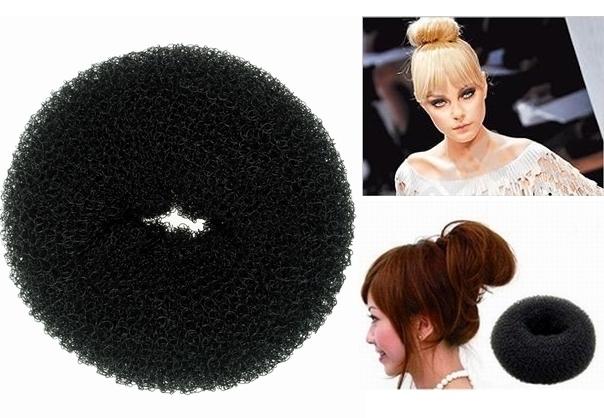 Free Shipping For Ladies' Headwear Tool 12 PCS Big Black brown Soft Hair Bun Ring Donut Forner Styling Style Design Salon Tool(China (Mainland))