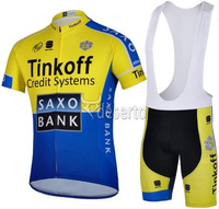free shipping!2014 Saxo bank team short sleeve cycling jersey and bib shorts set/professional bicycle wear/cycling clothes