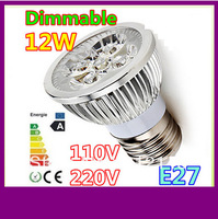 100pcs/lot Free shipping Dimmable 800LM 12W 110V 220V GU10 E27 E14 LED Light Bulb Lamp Spotlight Lighting Warm/Pure/Cool White