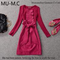 2014 NEWWholesale Fashion European-American Women's New Jacquard Elegance High-End Slim Long-Sleeved Dress With Belt