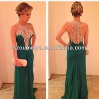 OED256 Sleeeveless Refine beaded emerald green evening dresses