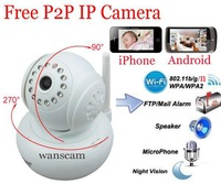 1.0 Megapixels 720P Infrared Dual Audio Remote Pan/Tilt Rotate WiFi Wireless Motion Detection IP Internet Camera Support TF Card