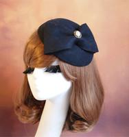 24059 Classtical dinner ferdoras/Woolen dome caps/Dome beret/Vintage caps/Kate ferdoras/Bow decoration