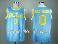 Free Shipping NCAA UCLA Bruins Russell Westbrook 0 Blue College Basketball Jerseys Size S-XXL Mix Order