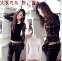 2014 spring plus size clothing clothes lace t-shirt slim 100% cotton long-sleeve basic shirt fashion shirt