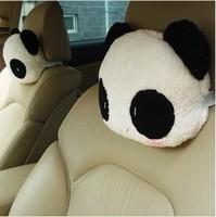 New 2Pcs Lovely  Panda Headrest Neck Pillow Car Auto Seat cover Head Neck Rest Cushion Headrest Pillow cute Car decoration